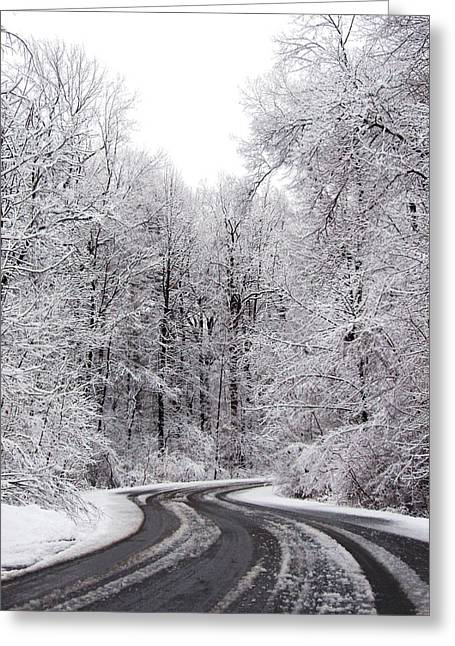 Snow On A Curvy Road Greeting Card by Tracy Winter