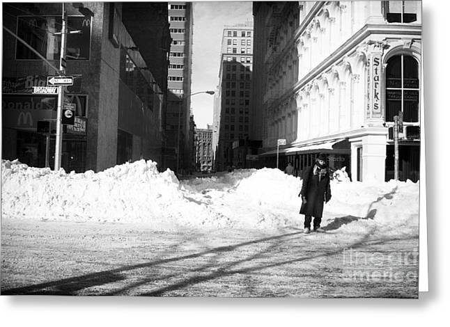 Snow On Broadway 1990s Greeting Card by John Rizzuto