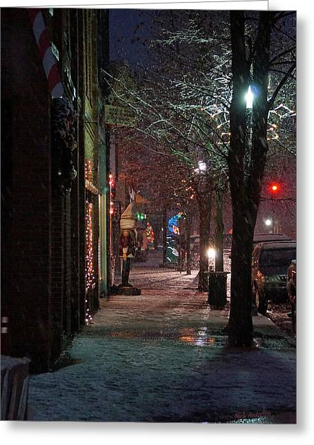 Snow On G Street 2 - Old Town Grants Pass Greeting Card by Mick Anderson