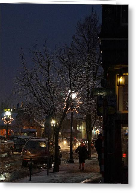 Snow On G Street 4 - Old Town Grants Pass Greeting Card by Mick Anderson