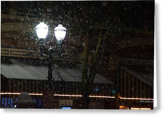 Snow On G Street In Grants Pass - Christmas Greeting Card by Mick Anderson
