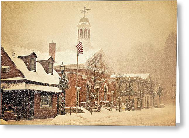 Snow On Main Street Chagrin Falls Oh Greeting Card by Dorothy Walker