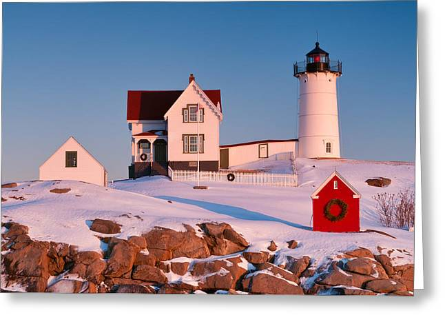 Snow On Nubble Light Greeting Card