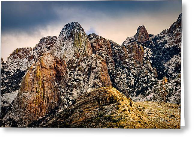 Greeting Card featuring the photograph Snow On Peaks 45 by Mark Myhaver