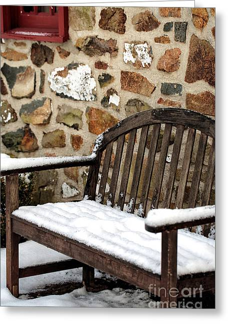 Snow On The Bench Greeting Card by John Rizzuto