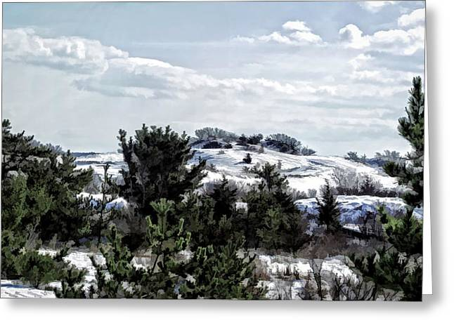 Greeting Card featuring the photograph Snow On The Dunes Photo Art by Constantine Gregory