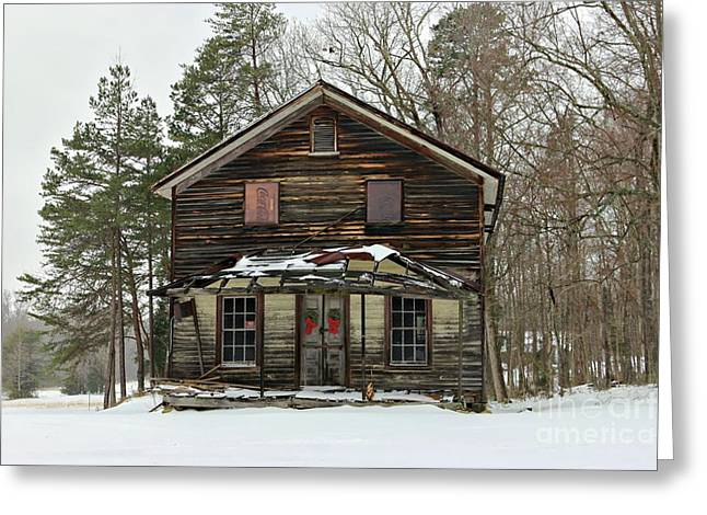 Snow On The General Store Greeting Card by Benanne Stiens