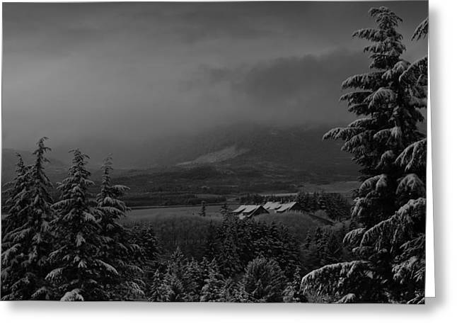 Greeting Card featuring the photograph Snow On The Horizon Bw by Timothy Latta