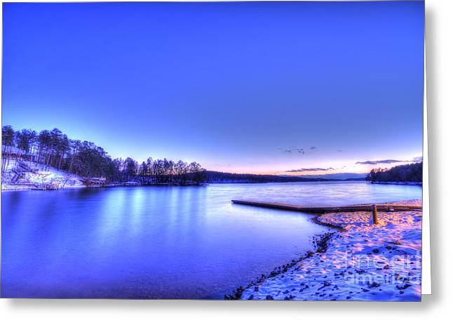Snow On The Lake Greeting Card by Robert Loe