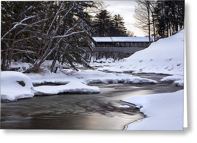 Snow On The Saco Greeting Card by Eric Gendron