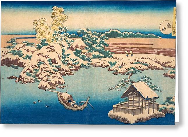 Snow On The Sumida River Greeting Card