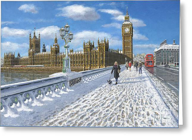 Snow On Westminster Bridge Greeting Card by Richard Harpum