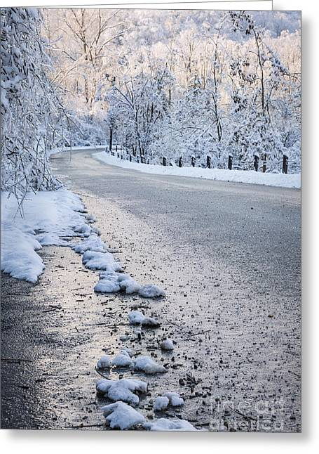 Snow On Winter Road Greeting Card by Elena Elisseeva