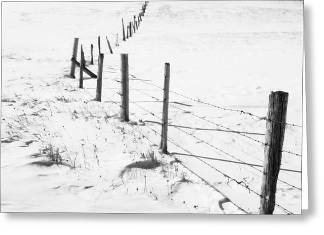 Snow Packed Fence Line Greeting Card