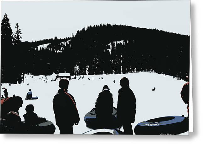 Greeting Card featuring the photograph Snow Park Fun  by Mindy Bench