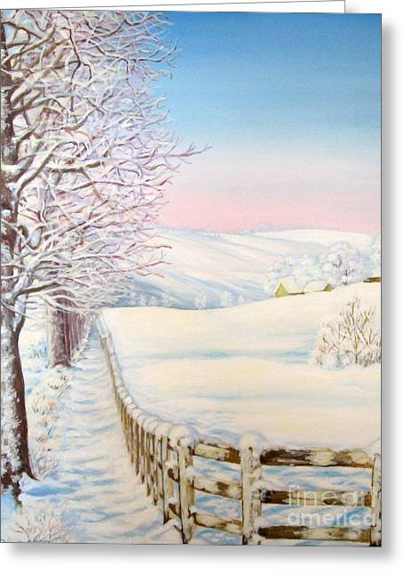 Greeting Card featuring the painting Snow Path by Inese Poga