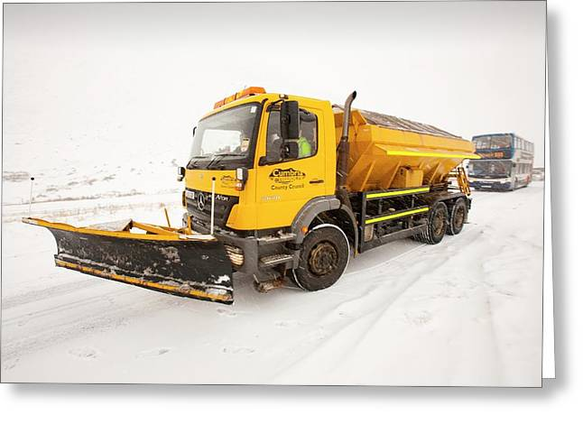 Snow Plough On The Road Greeting Card by Ashley Cooper