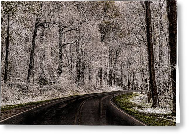 Snow Road Greeting Card by Tom  Reed
