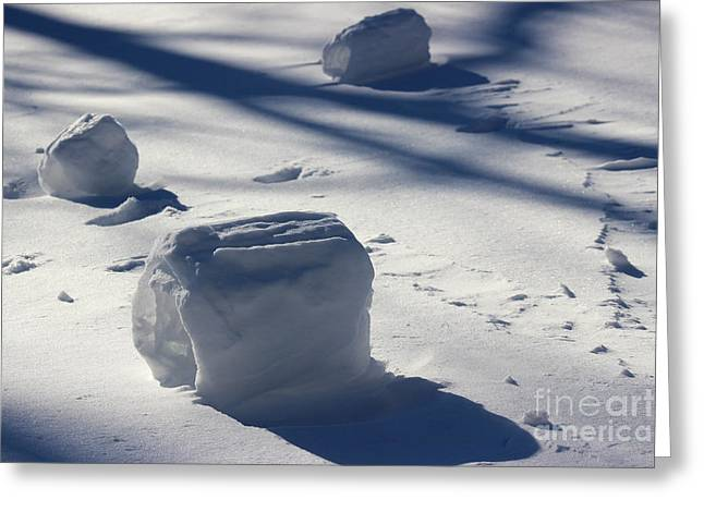 Snow Roller Trio In Shadows Greeting Card