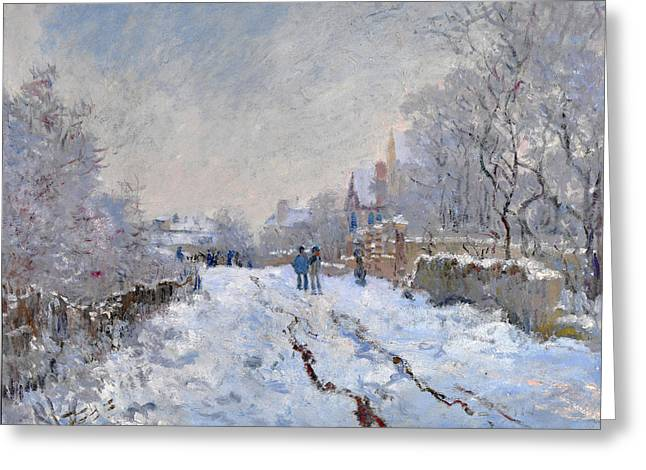 Snow Scene At Argenteuil Greeting Card by Claude Monet