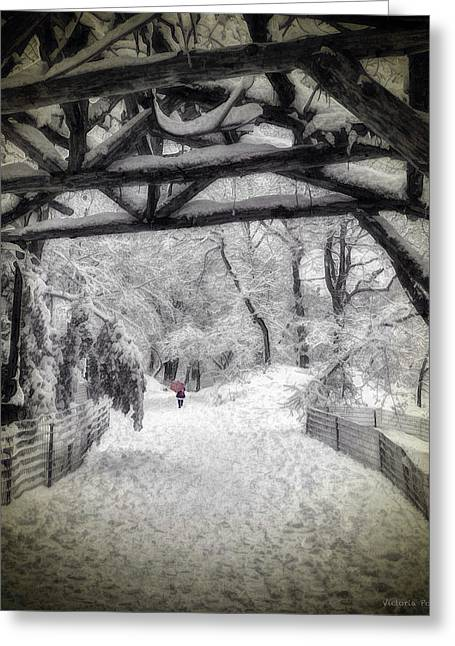 Snow Scene In Central Park Greeting Card