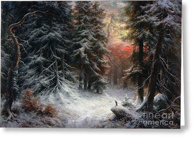 Snow Scene In The Black Forest Greeting Card by Carl Friedrich Wilhelm Trautschold