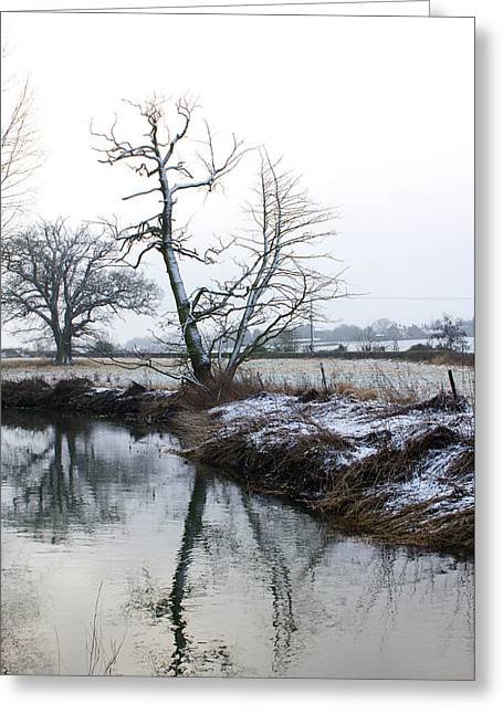 Snow Scene With River Running Through Greeting Card by Fizzy Image