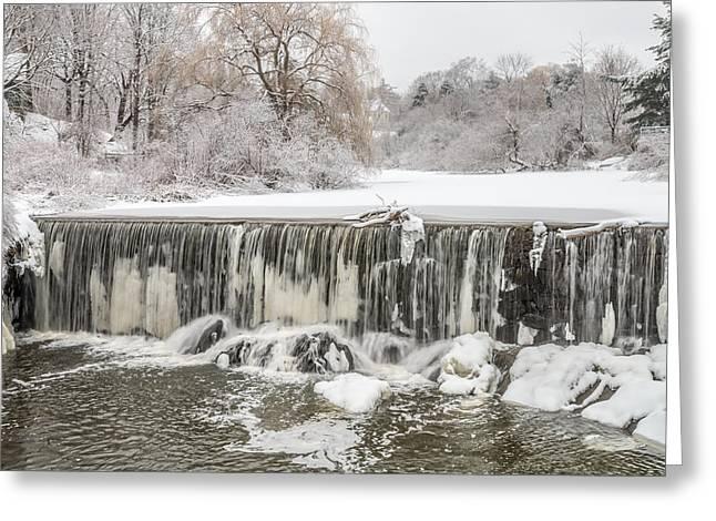 Snow Sleet And Freezing Rain On The Falls Greeting Card