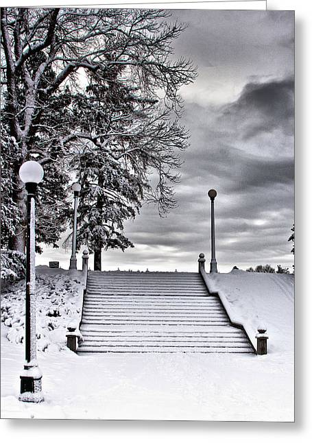 Greeting Card featuring the photograph Snow Stairs by Steven Reed