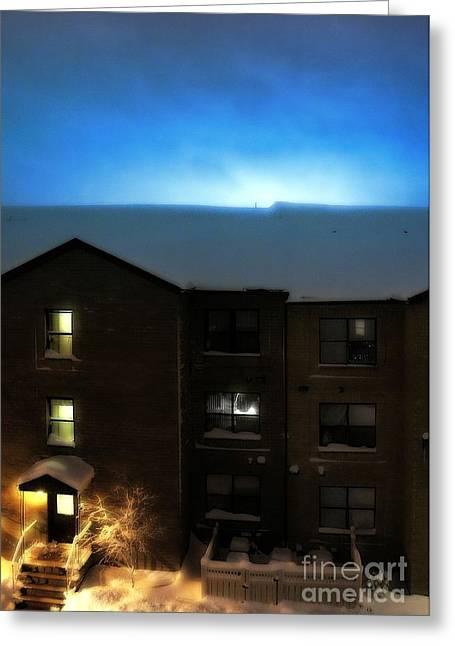 Snow Storm Lightning Greeting Card by Lilliana Mendez