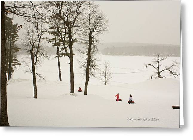 Snow Tubing In The Poconos Greeting Card by Ann Murphy