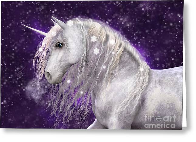 Snow Unicorn With Purple Background Greeting Card