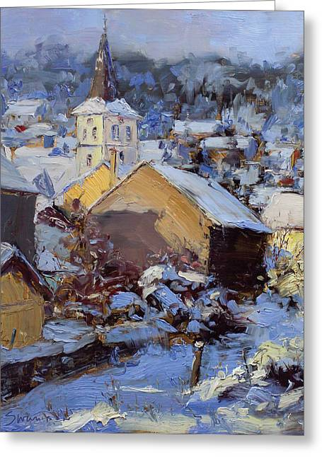 Snow Village Greeting Card by James Swanson