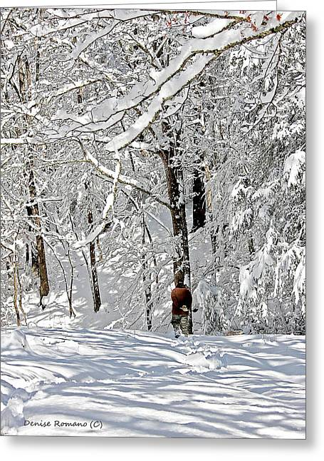 Snow Walking Greeting Card by Denise Romano