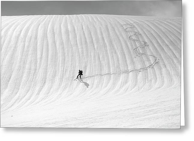 Snow Wave Surfing Greeting Card