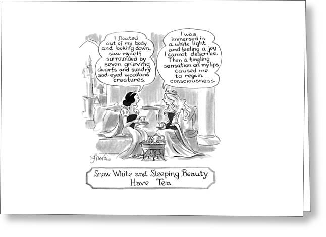 Snow White And Sleeping Beauty Have Tea Greeting Card