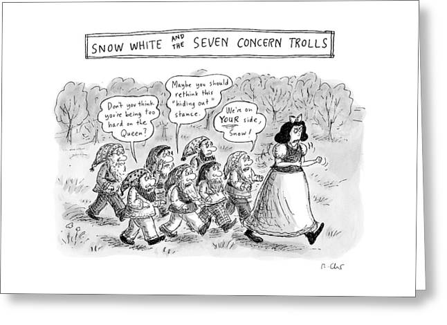Snow White Is Storming Away From A Group Of Seven Greeting Card