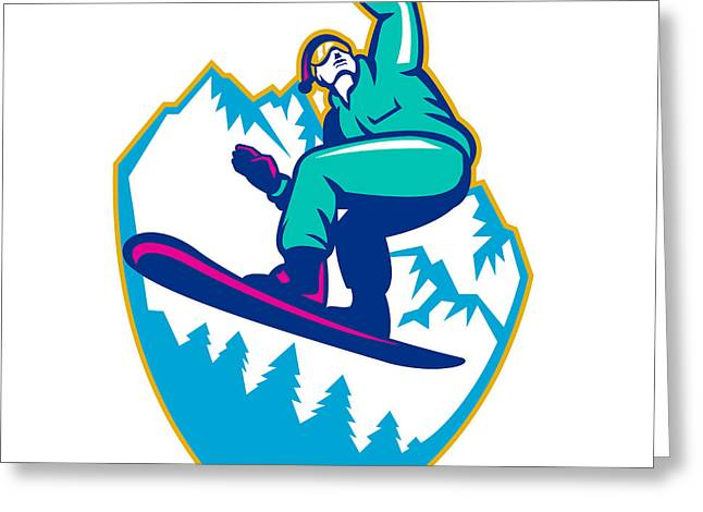 Snowboarder Holding Snowboard Alps Retro Greeting Card