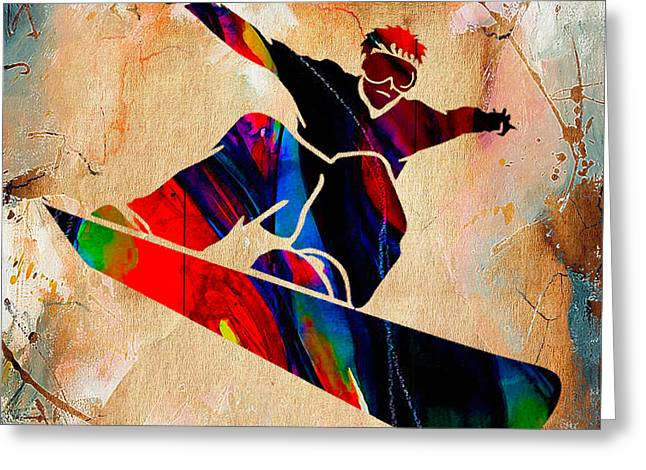 Snowboarder Painting Greeting Card by Marvin Blaine