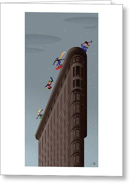 Snowboarders Fly Off The Flatiron Halfpipe Greeting Card