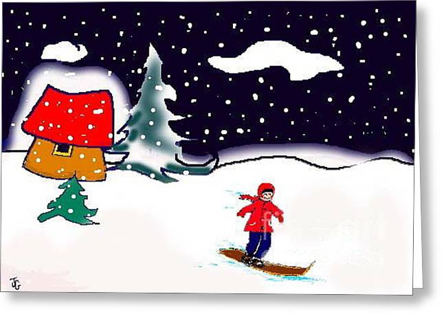 Greeting Card featuring the digital art Snowboarding by Joyce Gebauer