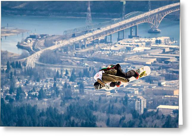 Snowboarding Over The City Greeting Card by Alexis Birkill