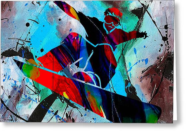Snowboarding Painting Greeting Card