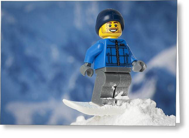 Snowboarding Greeting Card by Samuel Whitton