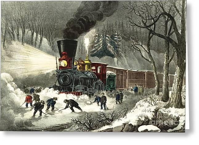 Snowbound Locomotive 1871 Greeting Card by Padre Art