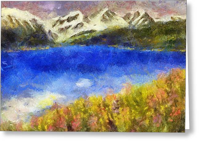 Snowcapped Blue Lake Greeting Card