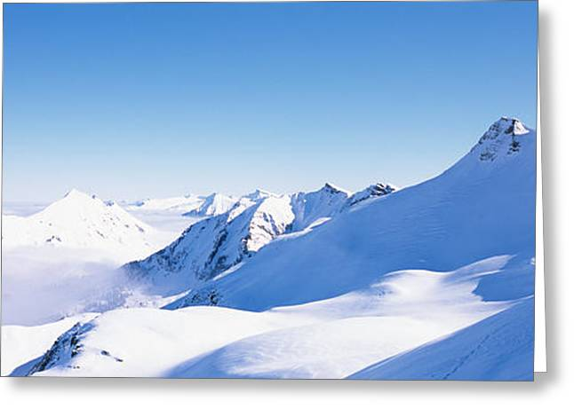 Snowcapped Mountain Range, Damuls Greeting Card by Panoramic Images