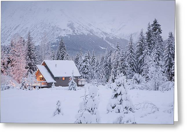 Snowcovered Home In A Wintry Meadow At Greeting Card by Jeff Schultz