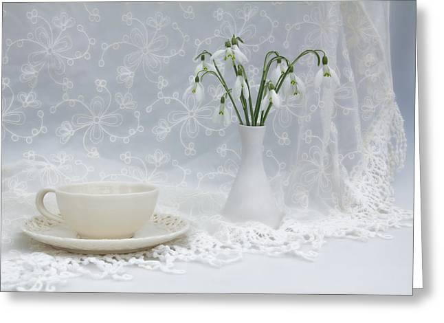 Snowdrops At Teatime Greeting Card by Ann Garrett