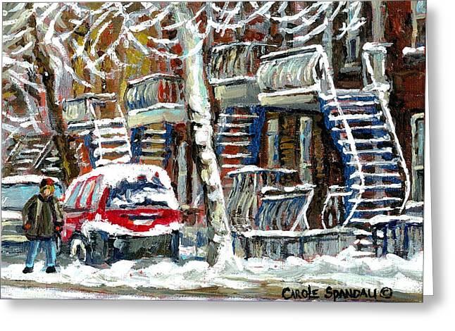 Snowed In January Trees Red Car In Verdun Winter City Scene Montreal Art Carole Spandau Greeting Card by Carole Spandau